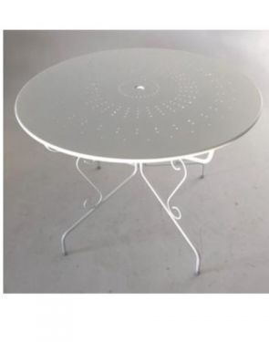 TABLE FER FORGE BLANC.